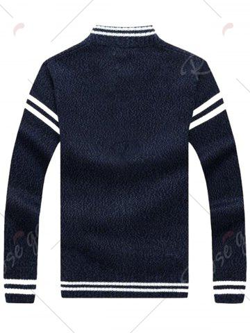 Sale Stripe Trim Sweater Cardigan - M CADETBLUE Mobile