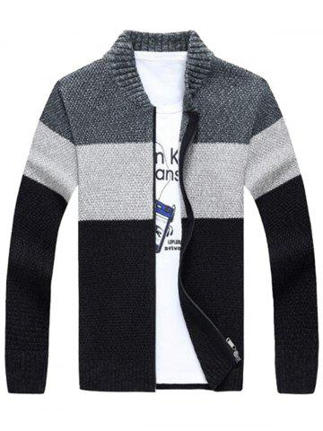 Hot Stand Collar Color Block Sweater Cardigan - XL GRAY Mobile