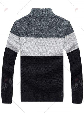 Best Stand Collar Color Block Sweater Cardigan - XL GRAY Mobile