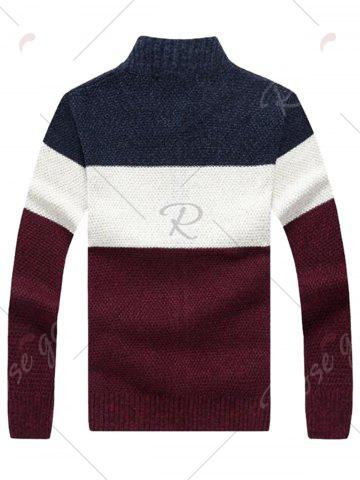 Discount Stand Collar Color Block Sweater Cardigan - XL CADETBLUE Mobile