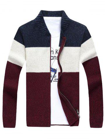 Online Stand Collar Color Block Sweater Cardigan - XL CADETBLUE Mobile