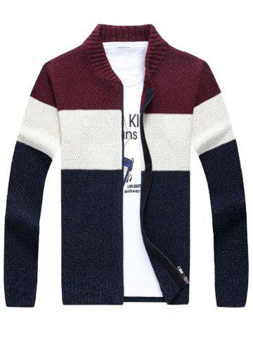 Trendy Stand Collar Color Block Sweater Cardigan WINE RED 2XL