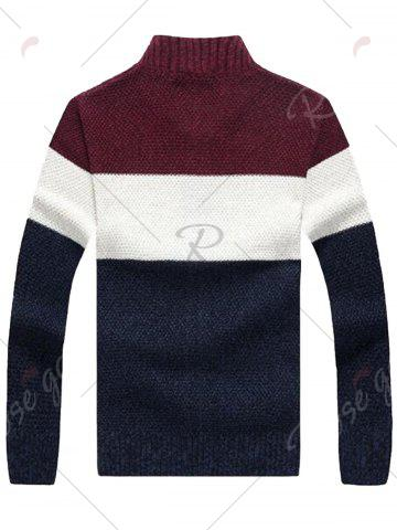 Sale Stand Collar Color Block Sweater Cardigan - L WINE RED Mobile