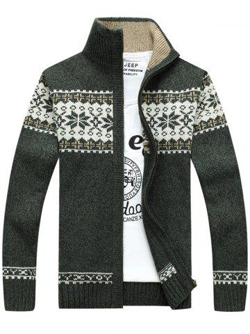 Jaquard Zip Up Sweater Cardigan - Green - L