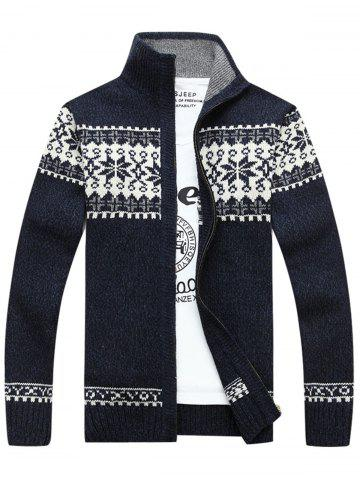 Chic Jaquard Zip Up Sweater Cardigan - 2XL CADETBLUE Mobile