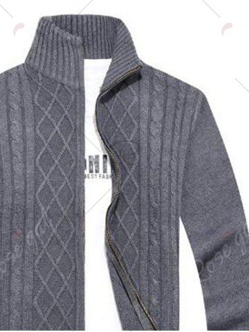 Chic High Neck Cable Knit Sweater Cardigan - XL GRAY Mobile