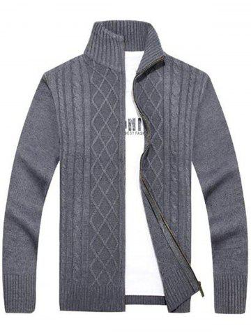 Chic High Neck Cable Knit Sweater Cardigan - 2XL GRAY Mobile
