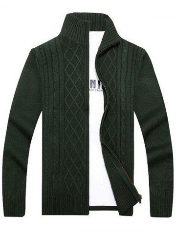 Affordable High Neck Cable Knit Sweater Cardigan - 3XL GREEN Mobile