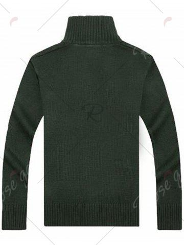 Shops High Neck Cable Knit Sweater Cardigan - XL GREEN Mobile