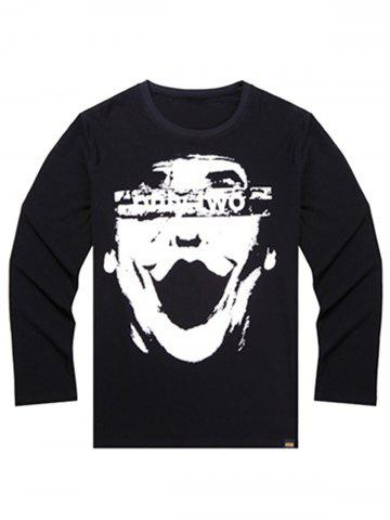 Best Printed Plus Size Long Sleeve T-shirt BLACK 6XL
