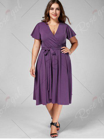Affordable Plus Size V Neck Belted Midi Dress - 7XL PURPLE Mobile
