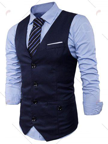 Shop Single Breasted V Neck Back Belt Waistcoat - XL CADETBLUE Mobile