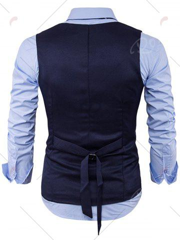 Hot Single Breasted V Neck Back Belt Waistcoat - XL CADETBLUE Mobile