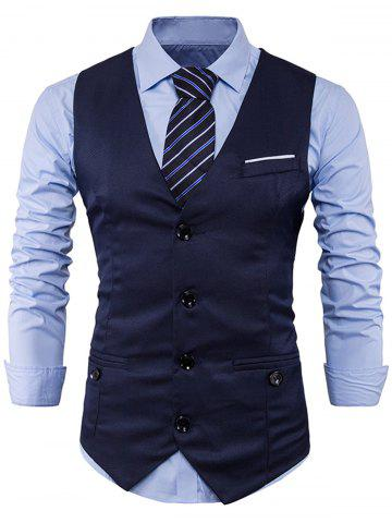 Hot Single Breasted V Neck Back Belt Waistcoat CADETBLUE L