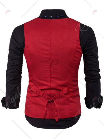 Best Single Breasted V Neck Edging Waistcoat - RED L Mobile