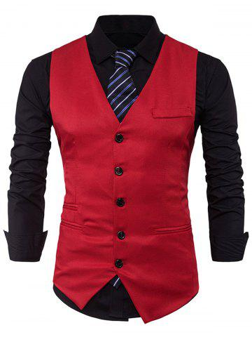 Single Breasted V Neck Edging Waistcoat - Red - L