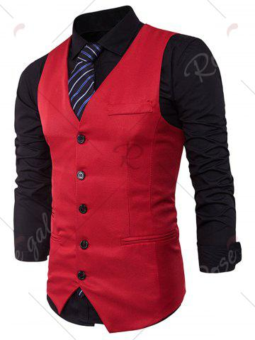 Shops Single Breasted V Neck Edging Waistcoat - RED XL Mobile