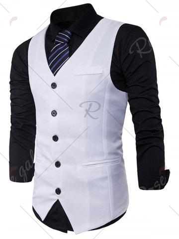 Shop Single Breasted V Neck Edging Waistcoat - 2XL WHITE Mobile
