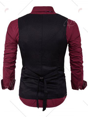Shop Single Breasted Edging Design Waistcoat - XL BLACK Mobile