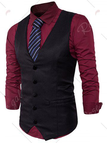 Trendy Single Breasted Edging Design Waistcoat - XL BLACK Mobile