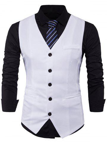 Trendy Single Breasted V Neck Edging Waistcoat WHITE M