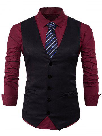 Shop Single Breasted Edging Design Waistcoat BLACK 2XL