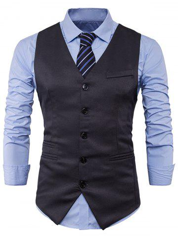 Unique Single Breasted V Neck Edging Waistcoat - 2XL DEEP GRAY Mobile