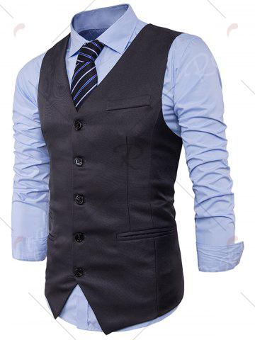 Chic Single Breasted V Neck Edging Waistcoat - 2XL DEEP GRAY Mobile
