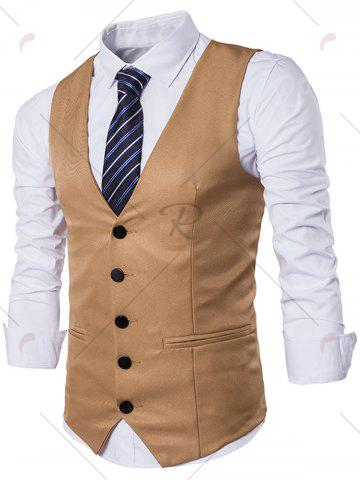 New Single Breasted Edging Design Waistcoat - XL KHAKI Mobile