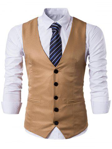 Single Breasted Edging Design Waistcoat - Khaki - L
