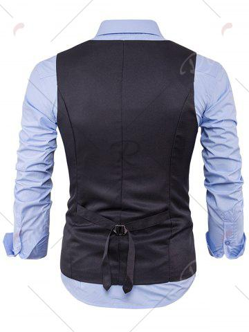 Chic Single Breasted V Neck Edging Waistcoat - DEEP GRAY M Mobile
