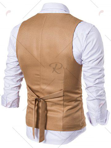Discount Single Breasted Edging Design Waistcoat - M KHAKI Mobile
