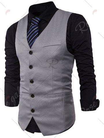 Discount Single Breasted V Neck Edging Waistcoat - 2XL LIGHT GRAY Mobile