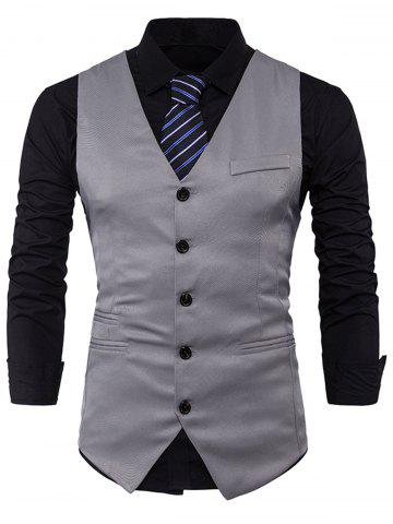Affordable Single Breasted V Neck Edging Waistcoat LIGHT GRAY XL