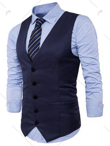 Affordable Single Breasted Edging Design Waistcoat - L CADETBLUE Mobile