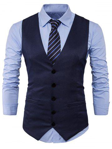 Discount Single Breasted Edging Design Waistcoat - L CADETBLUE Mobile