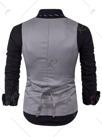 Discount Single Breasted V Neck Edging Waistcoat - LIGHT GRAY M Mobile