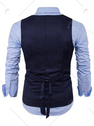 New Single Breasted Edging Design Waistcoat - L CADETBLUE Mobile