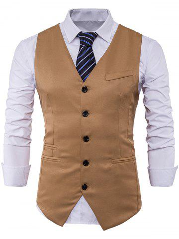 Cheap Single Breasted V Neck Edging Waistcoat - KHAKI XL Mobile