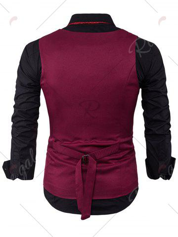 Chic V Neck Color Block Edging Waistcoat - WINE RED XL Mobile