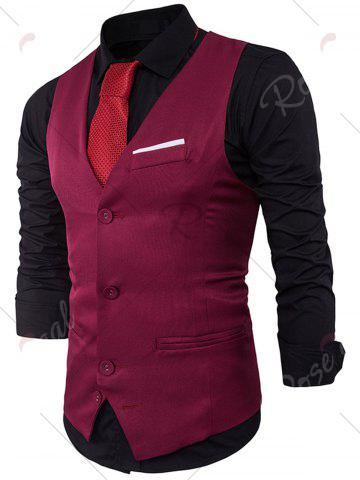 Chic V Neck Color Block Edging Waistcoat - WINE RED L Mobile