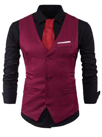 Chic V Neck Color Block Edging Waistcoat - WINE RED M Mobile