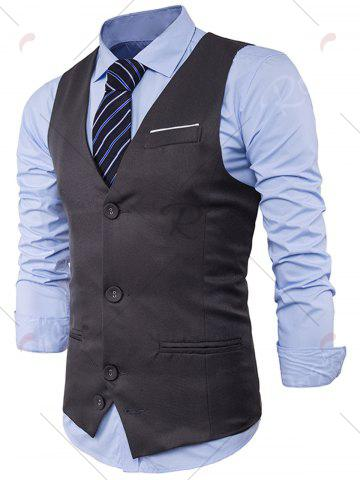 Buy V Neck Color Block Edging Waistcoat - 2XL GRAY Mobile