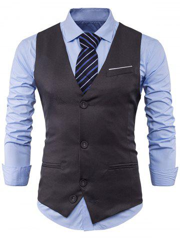 Buy V Neck Color Block Edging Waistcoat GRAY XL