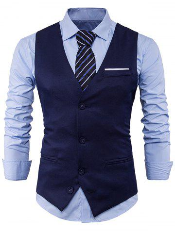 Store V Neck Color Block Edging Waistcoat - CADETBLUE M Mobile
