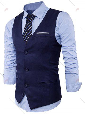 Buy V Neck Color Block Edging Waistcoat - CADETBLUE M Mobile
