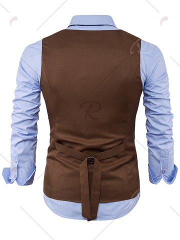 Fashion V Neck Color Block Edging Waistcoat - 2XL KHAKI Mobile