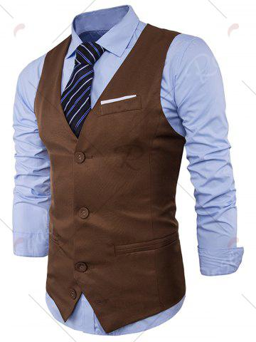 Outfits V Neck Color Block Edging Waistcoat - KHAKI M Mobile