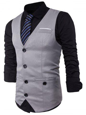 Single Breasted V Neck Back Belt Waistcoat - Light Gray - 2xl