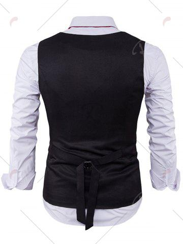Outfits V Neck Color Block Edging Waistcoat - BLACK M Mobile